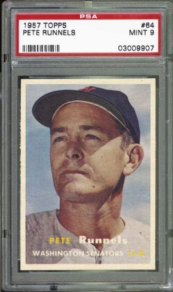 1957 Topps #64 Pete Runnels PSA 9 MINT