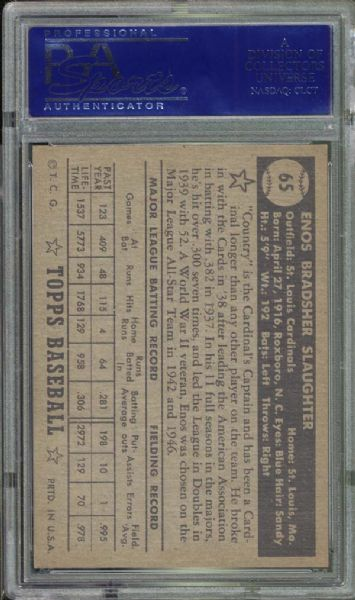 1952 Topps #65 Enos Slaughter Black Back PSA 7 NM