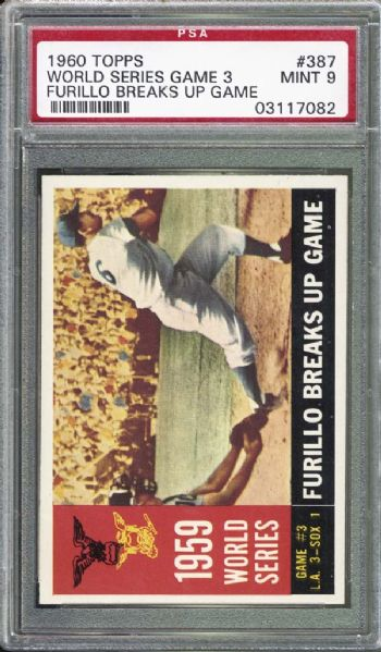 1960 Topps #387 Furillo Breaks Up Game PSA 9 MINT
