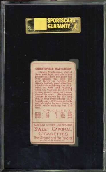 1911 T205 Christy Mathewson SGC 40 VG 3