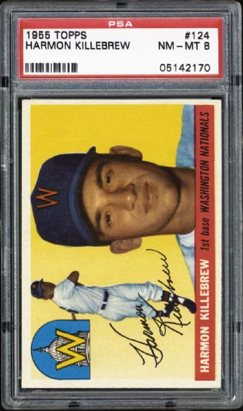 1955 Topps #124 Harmon Killebrew PSA 8 NM/MT