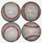 Triple Crown Winners Multi-Signed OAL (Brown) Ball with Mantle, Williams, Yastrzemski and F. Robinson Upper Deck Authenticated