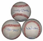 Mickey Mantle/Duke Snider/Willie Mays Signed OAL (Brown) Ball LOA JSA