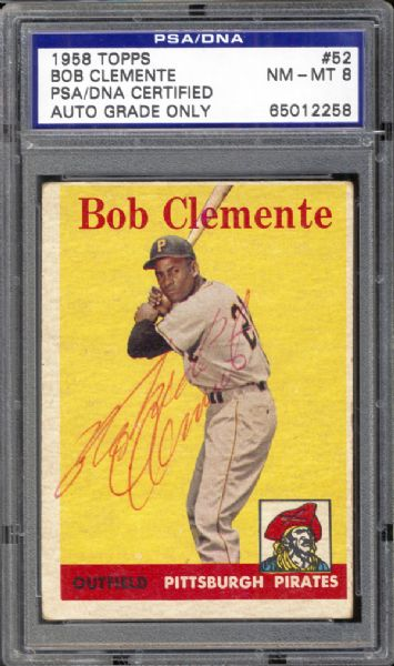 1958 Topps #52 Bob Clemente PSA/DNA Certified PSA 8 NM/MT