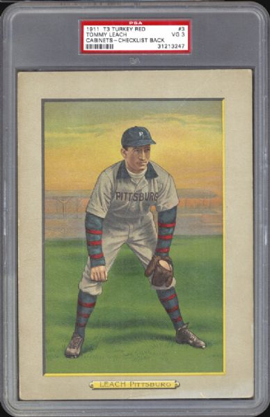 1911 T3 Turkey Red #3 Tommy Leach PSA 3 VG