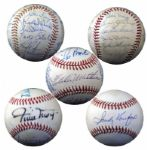Group of 5 Autographed Baseballs with HOFers LOAs JSA