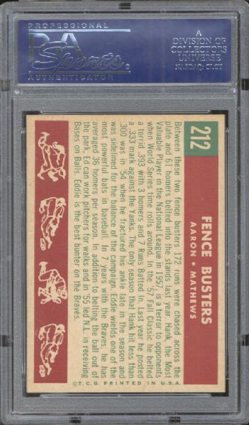 1959 Topps #212 Fence Busters Aaron/Mathews PSA 9 MINT