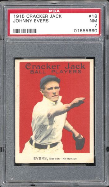 1915 Cracker Jack #18 Johnny Evers PSA 7 NM