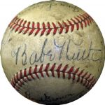 "Unique 1942 ""Pride of the Yankees""  Multi Signed Ball Including Ruth, Cooper, Dickey, ODoul and Herman PSA/DNA"