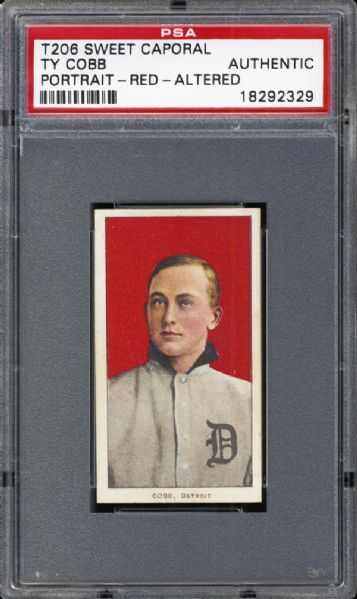 1909-11 T206 Ty Cobb Portrait Red Altered PSA Authentic