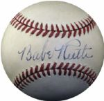 Extraordinary Babe Ruth Single Signed OAL Ball