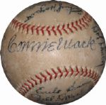 1939 Philadelphia As Team-Signed Official PCL Ball Featuring Connie Mack LOA JSA