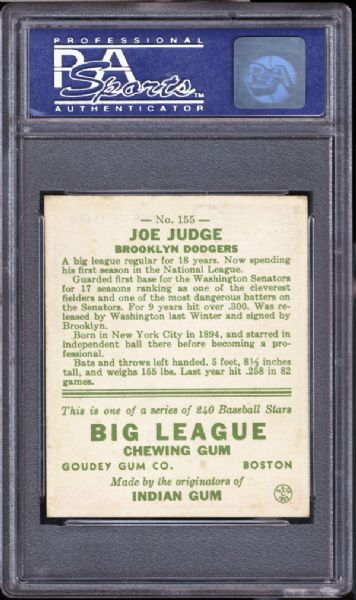 1933 Goudey #155 Joe Judge PSA 8 NM/MT