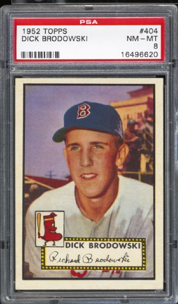 1952 Topps #404 Dick Brodowski PSA 8 NM/MT