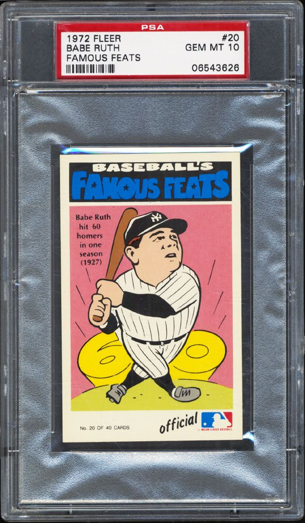 Lot Detail 1972 Fleer 20 Babe Ruth Famous Feats Psa 10