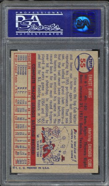 1957 Topps #55 Ernie Banks PSA 8 NM/MT