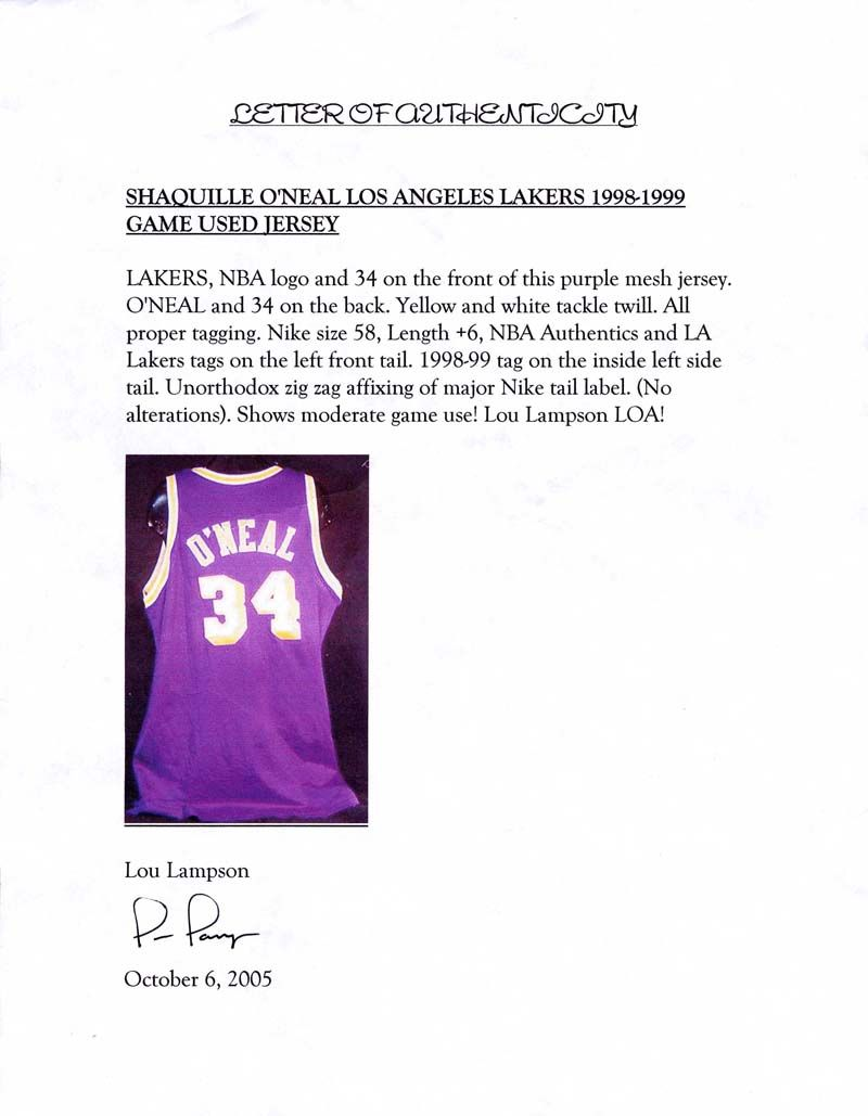 Lot Detail - 1998-99 Shaquille O Neal Los Angeles Lakers Game-Used ... 7a0721bca