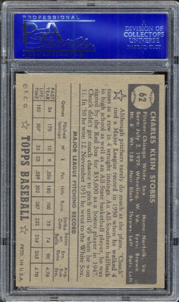 1952 Topps #62 Chuck Stobbs Black Back PSA 8 NM/MT