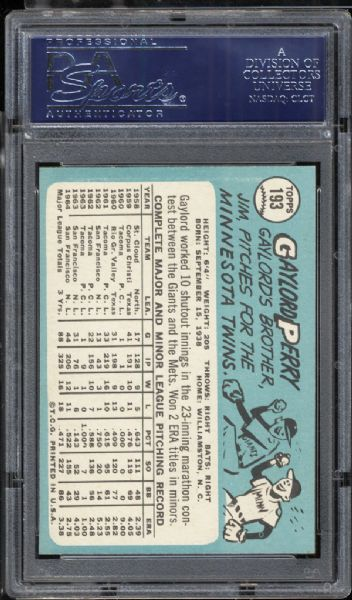 1965 Topps #193 Gaylord Perry PSA 10 GEM MINT