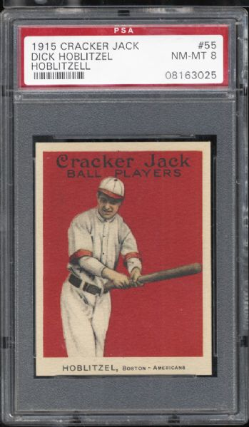 1915 Cracker Jack #55 Dick Hoblitzel PSA 8 NM/MT