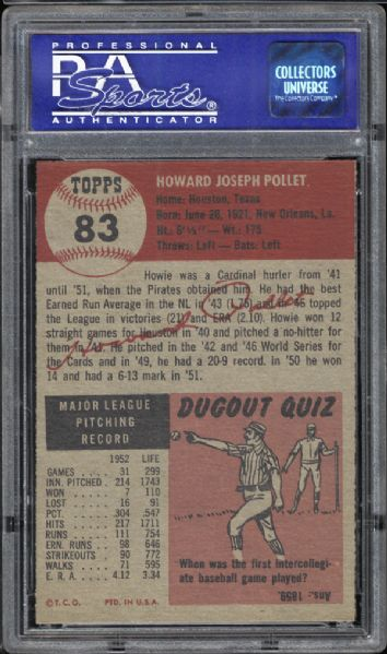1953 Topps #83 Howie Pollet PSA 8 NM/MT