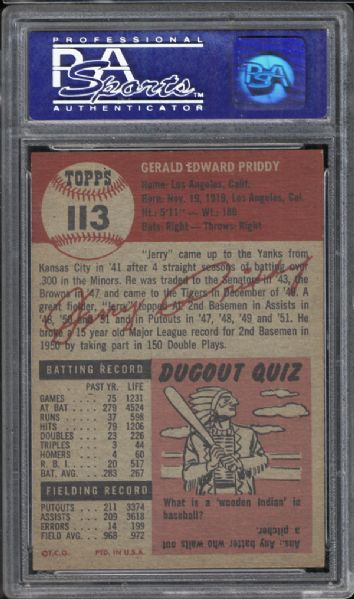 1953 Topps #113 Jerry Priddy PSA 8 NM/MT