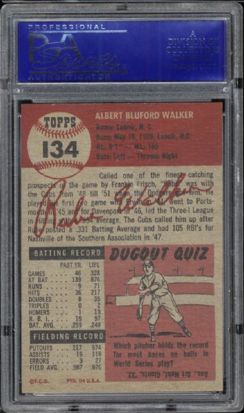 1953 Topps #134 Rube Walker PSA 8 NM/MT