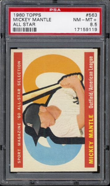 1960 Topps #563 Mickey Mantle PSA 8.5 NM/MT+