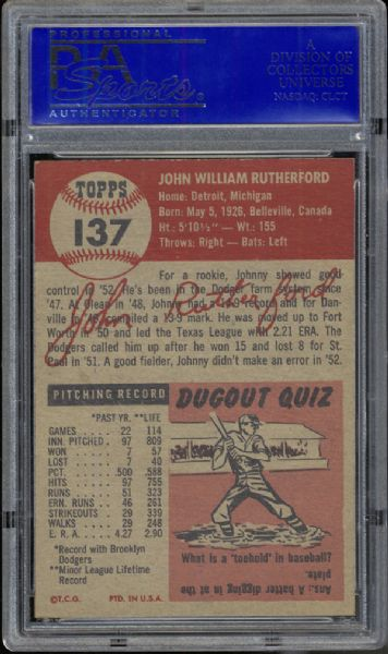 1953 Topps #137 John Rutherford PSA 8 NM/MT