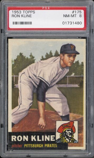1953 Topps #175 Ron Kline PSA 8 NM/MT