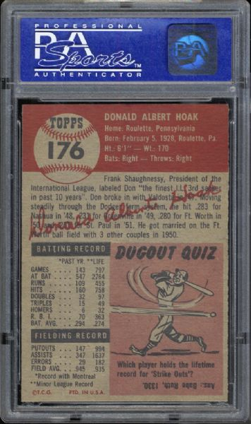 1953 Topps #176 Don Hoak PSA 8 NM/MT