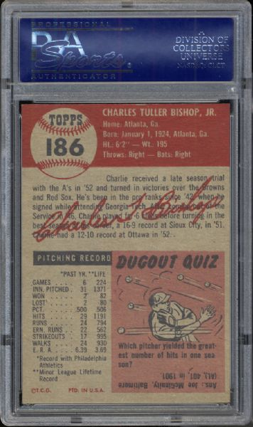 1953 Topps #186 Charlie Bishop PSA 8.5 NM/MT+