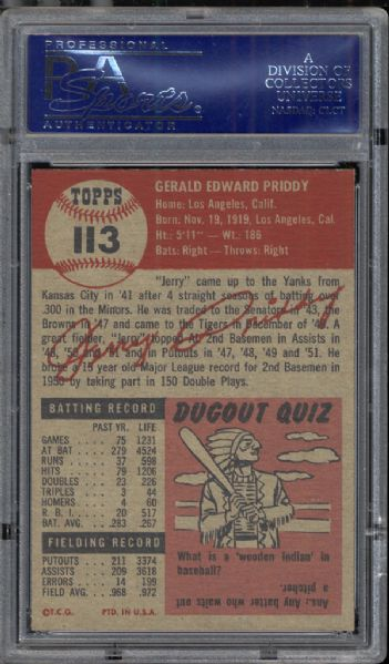 1953 Topps #113 Jerry Priddy PSA 8.5 NM/MT+