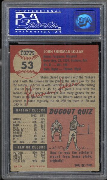 1953 Topps #53 Sherman Lollar PSA 8 NM/MT
