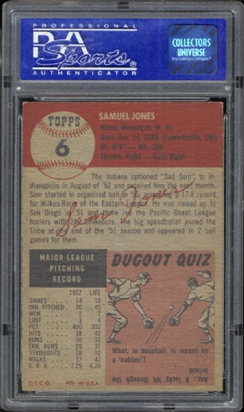1953 Topps #6 Sam Jones PSA 8 NM/MT