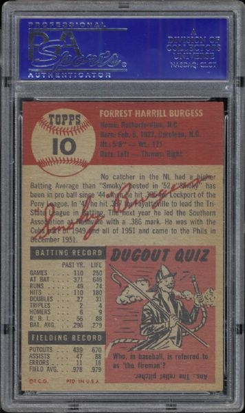 1953 Topps #10 Smoky Burgess PSA 8 NM/MT