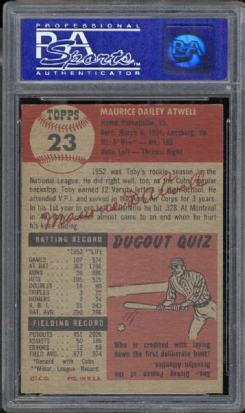 1953 Topps #23 Toby Atwell PSA 8 NM/MT