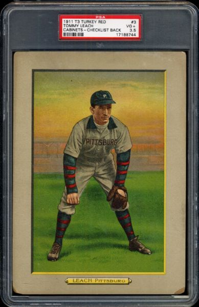 1911 T3 Turkey Red #3 Tommy Leach PSA 3.5 VG+
