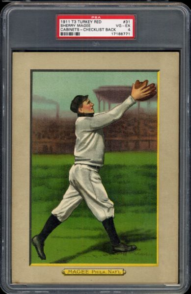 1911 T3 Turkey Red #31 Sherry Magee PSA 4 VG/EX