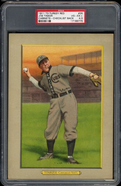1911 T3 Turkey Red #35 Joe Tinker PSA 4.5 VG/EX+