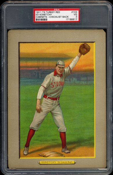 1911 T3 Turkey Red #103 Ed Konetchy PSA 3 VG