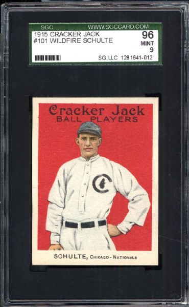 1915 Cracker Jack #101 Wildfire Schulte SGC 96 MINT 9