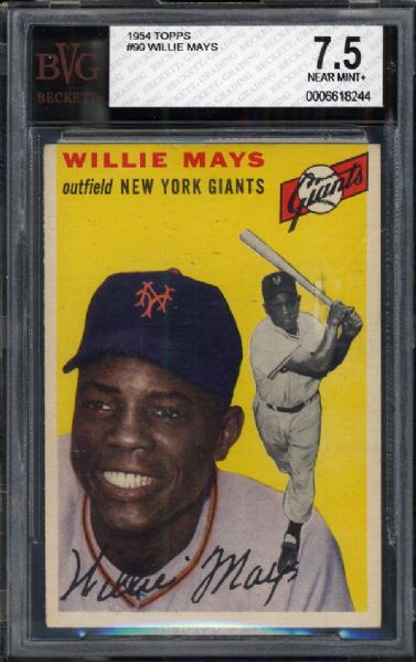 1954 Topps #90 Willie Mays BVG 7.5 NM+