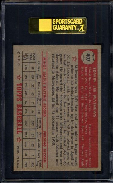 1952 Topps #407 Ed Mathews SGC 84 NM 7