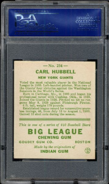 1933 Goudey #234 Carl Hubbell PSA 8 NM/MT