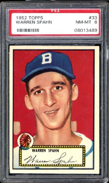 1952 Topps #33 Warren Spahn PSA 8 NM/MT