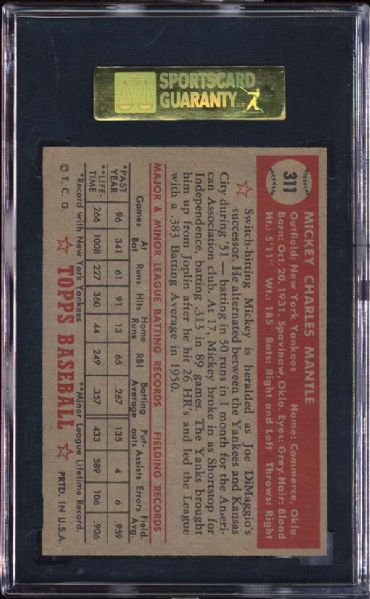 1952 Topps #311 Mickey Mantle SGC 86 NM+ 7.5