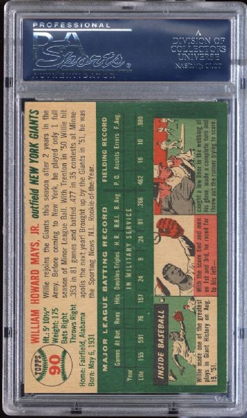 1954 Topps #90 Willie Mays PSA 7 NM