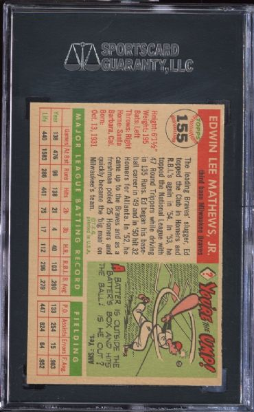 1955 Topps #155 Ed Mathews SGC 88 NM/MT 8