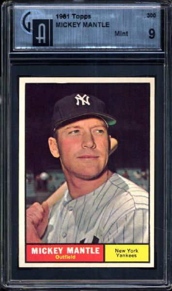 1961 Topps #300 Mickey Mantle GAI 9 MINT